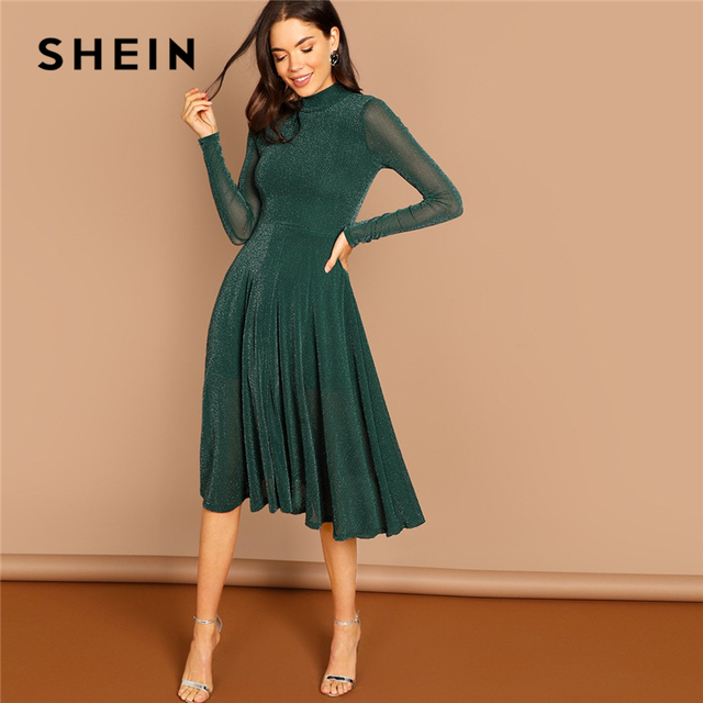 0ac014d013 SHEIN Green Party Solid Mock Neck Glitter Fit And Flare Stand Collar Long  Sleeve Dress Autumn