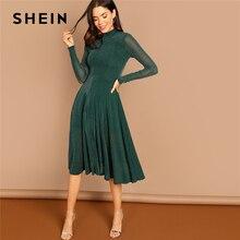 SHEIN Yeşil Parti Katı Mock Boyun Glitter Fit Ve Flare Standı Yaka uzun kollu elbise Sonbahar Kadın Zarif Elbiseler