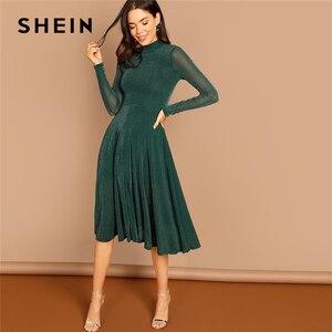 Image 1 - SHEIN Yeşil Parti Katı Mock Boyun Glitter Fit Ve Flare Standı Yaka uzun kollu elbise Sonbahar Kadın Zarif Elbiseler