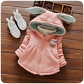 Autumn Winter Baby Girls Solid Rabbit Ear Hooded Kids Jacket Coat Children's Cotton Thick Outewear casaco roupas de bebe