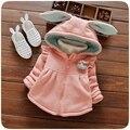 Otoño Invierno Baby Girls Solid Oído de Conejo Con Capucha Niños Chaqueta de Algodón Gruesa Capa de Los Niños Outewear casaco roupas de bebe