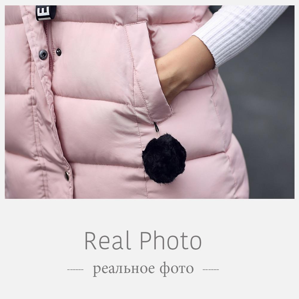 Brieuces Women Winter Vest women Waistcoat Womens Long Vest Sleeveless Jacket Faux fur ball Hooded Down Cotton Warm Vest Female