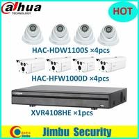 HDCVI Dahua Surveillance System Kit XVR video recorder XVR4108HE 8CH 720P & camera HDCVI 4pcs HAC HFW1000D & 4pcs HAC HDW1100S