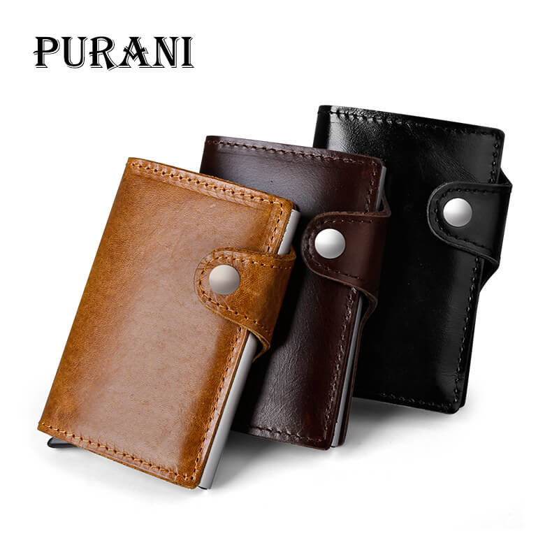 PURANI 2018 Men And Women Credit Card Holder RFID Aluminium Business Man Card Holder Genuine Leather Travel ID Card Wallet Men все цены