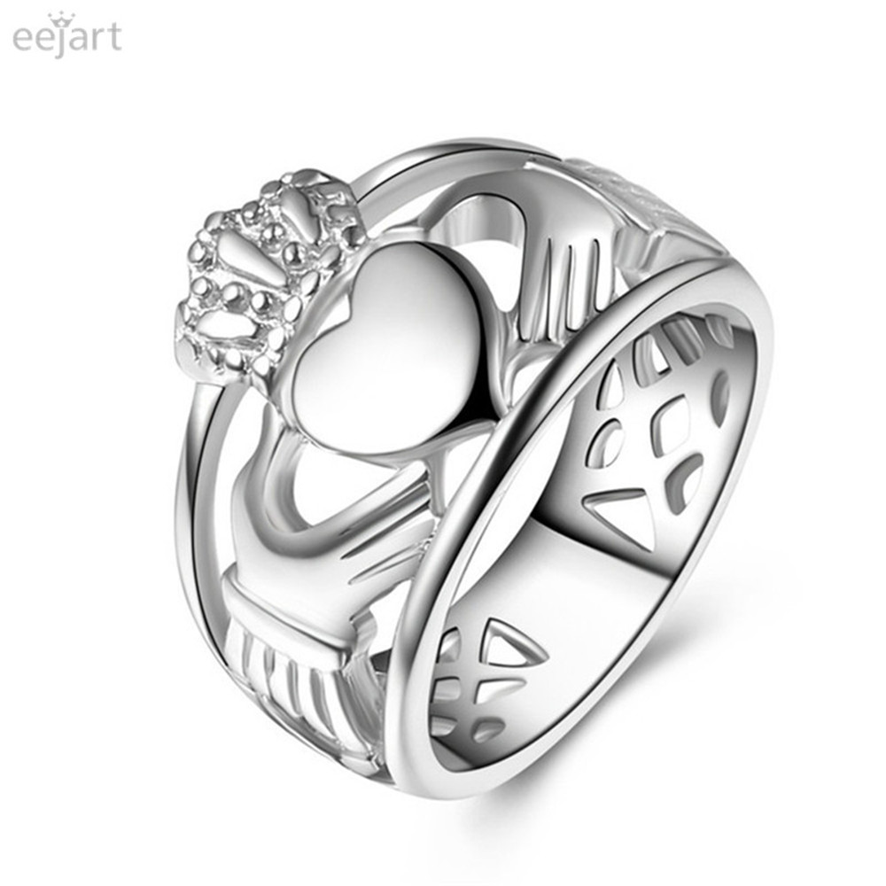 STERLING SILVER CLADDAGH RING LADIES GENTS CLADDA HEART IRISH WED LARGE SIZES