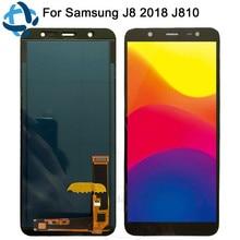 Samsung Galaxy J8 2018 J810 Ekran lcd ekran + Dokunmatik Ekran Paneli SM J810 J810M Yedek Ekran Ayarlamak Parlaklık