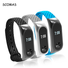SCOMAS Carbon Fiber Strap For Mi Band 2 Replacement Watch Band Light Breathable Bracelet For Xiaomi