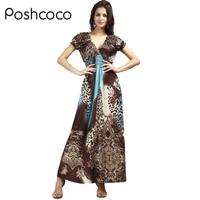 Poshcocoยี่ห้อหรูหรา2017ฤดูใบไม้ผลิฤดูร้อนผู้หญิงคอวีชายหาดdress