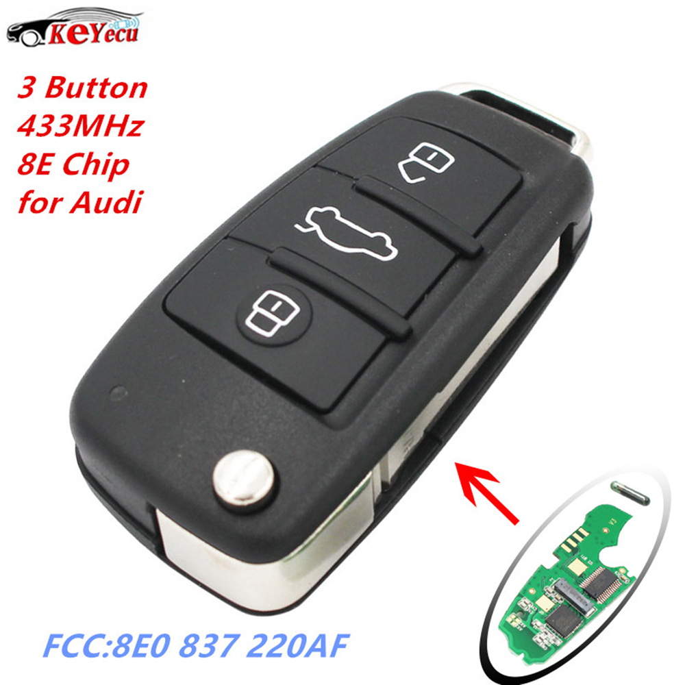 US $52 11 13% OFF|KEYECU Replacement Folding Flip Keyless Entry Remote Car  Key 3 Button 433MHz 8E Transponder Chip for Audi Q7 FCC: 8E0 837 220AF-in