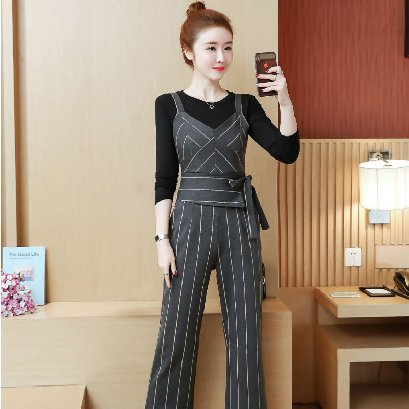 YICIYA Women outfits tracksuit sportswear Striped top and bib pants suits 2 piece set co-ord set OL Office 2019 bodycon clothing 3