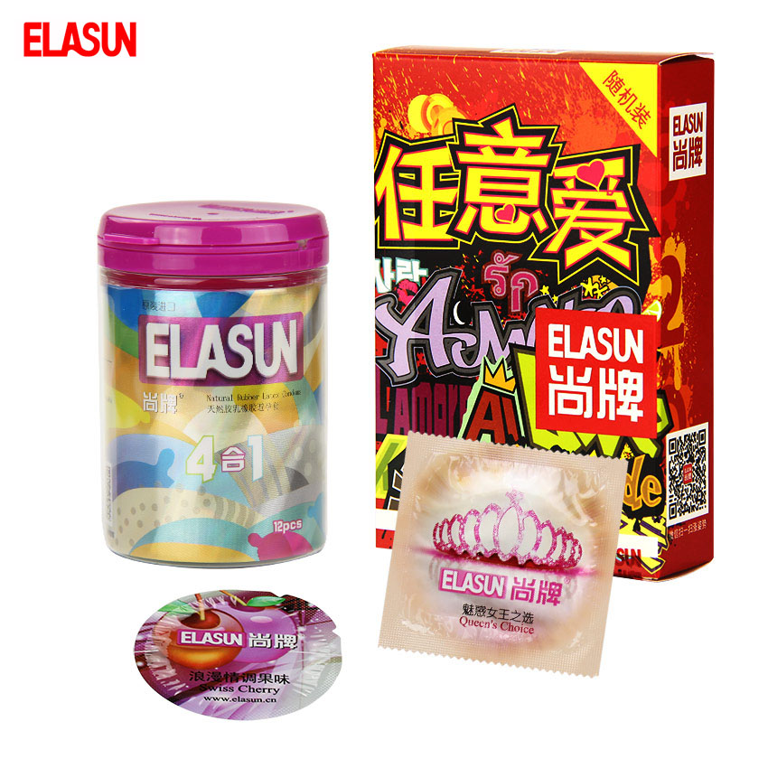 ELASUN 28 pcs Arbitrary Love Combination Pack Lubricated Condoms Ultra Thin G Point Stimulation Condom Sex Products Condones