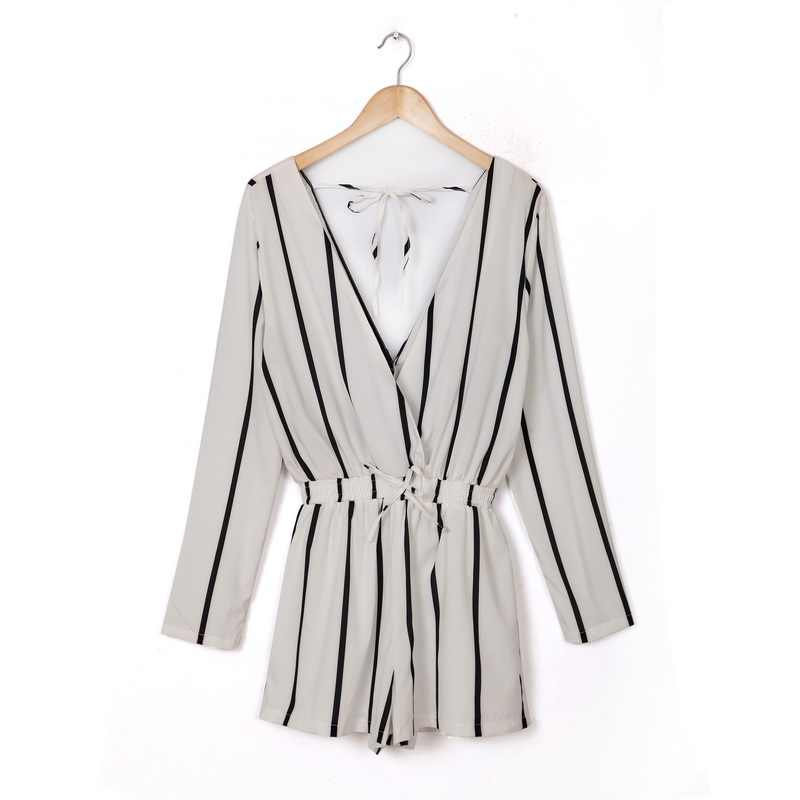175b13de6d3 Fashion Ladies  elegant sexy striped jumpsuit short pants long sleeve V  neck Rompers with sashes