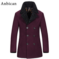 Anbican Fashion Winter Wool Coat Men Double Breasted Slim Pea Coat British Long Red Overcoat M