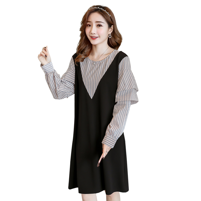Striped Maternity Clothing Bohemian Pregnancy Dress Loose False Two Pieces Maternity Clothes For Pregnant Women