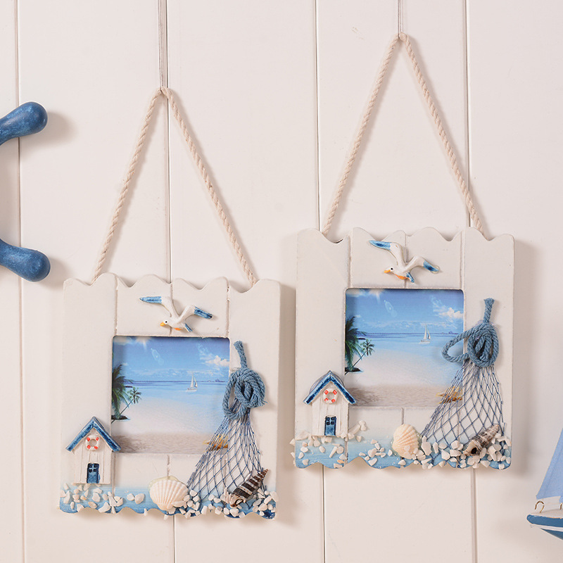 2017 modern diy wooden frame romantic sea foto quadro moldura hanging on wall porta picture frames