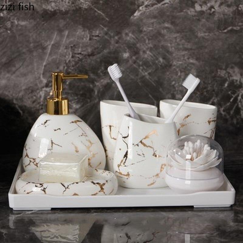 6/7 pièces ensemble or marbre céramique salle de bain accessoires set distributeur de savon/porte-brosse à dents/gobelet/porte-savon produits de salle de bain