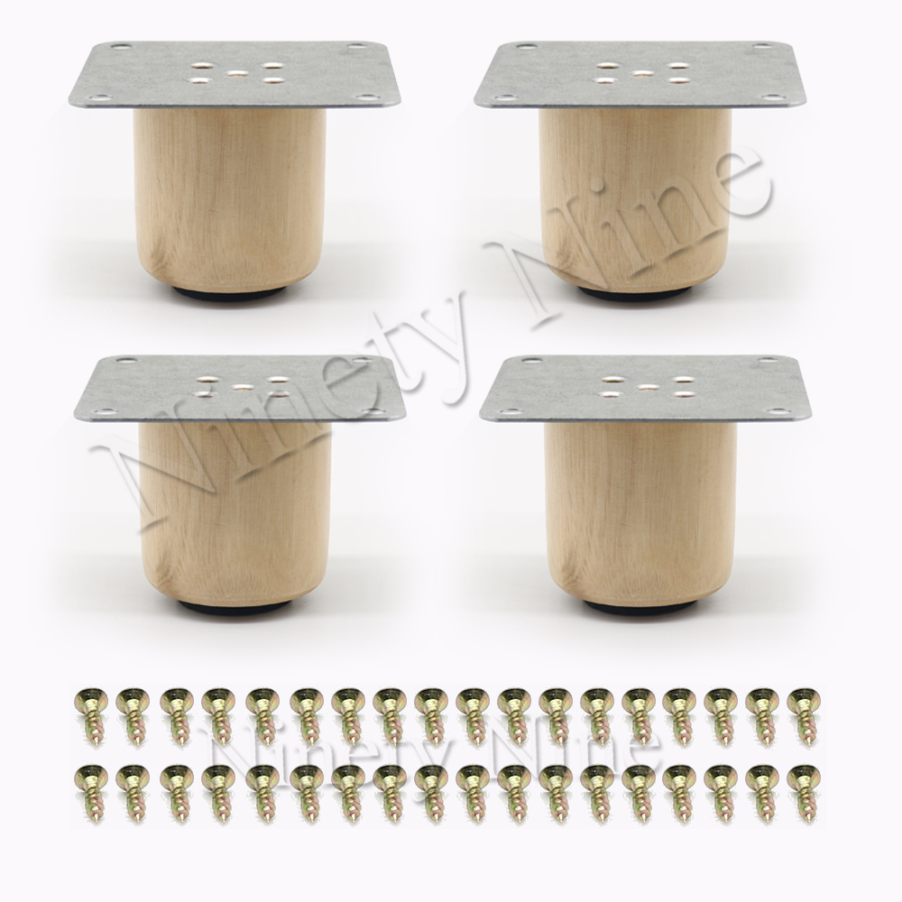 5*5cm Wooden Color Pine Wood Unpainted Furniture Sofa Chair Loveseat Cabinets Couch Legs Feet Set Of 4