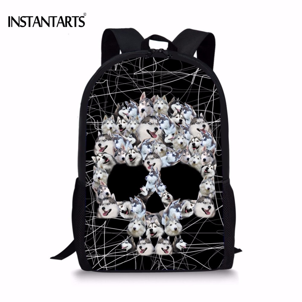 Kids & Baby's Bags Luggage & Bags Brave Instantarts Cute 3d Animal Husky/pug Dog Skull Head Printing Boys Girls School Bags Casual Book Shoulder Bags Children Bookbags Elegant In Style