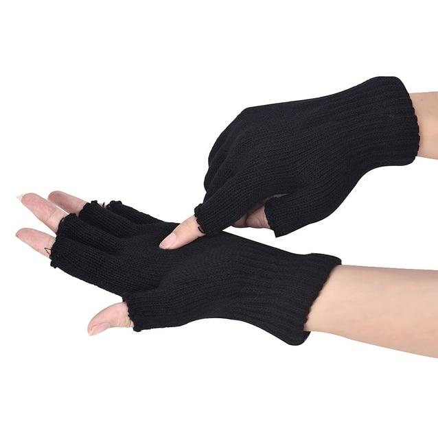 Invierno hombres negro tejido elástico cálido medio dedo Guantes sin dedos  hombres mitones cómodos para llevar 943fbee451f