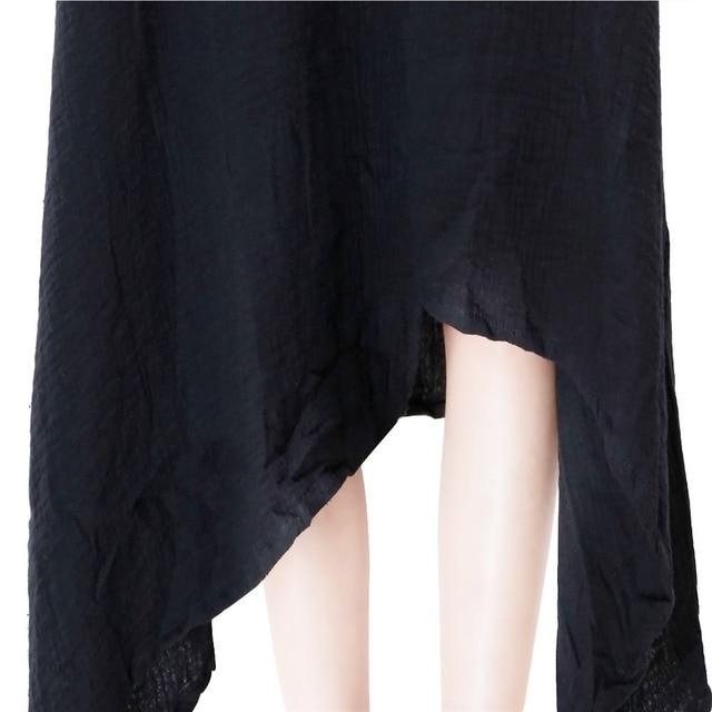 Johnature 2021 Autumn New Women Black Color Casual Dress Robe Long Sleeve V Neck Loose Brief Loose Irregular Long Dress 6