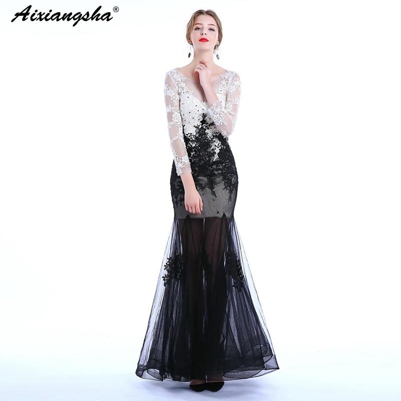 Black&White Mermaid Party   Prom     Dresses   2018 Long   Prom     Dress   Elegant Scoop Lace Plus Size vestido de festa longo gala jurken