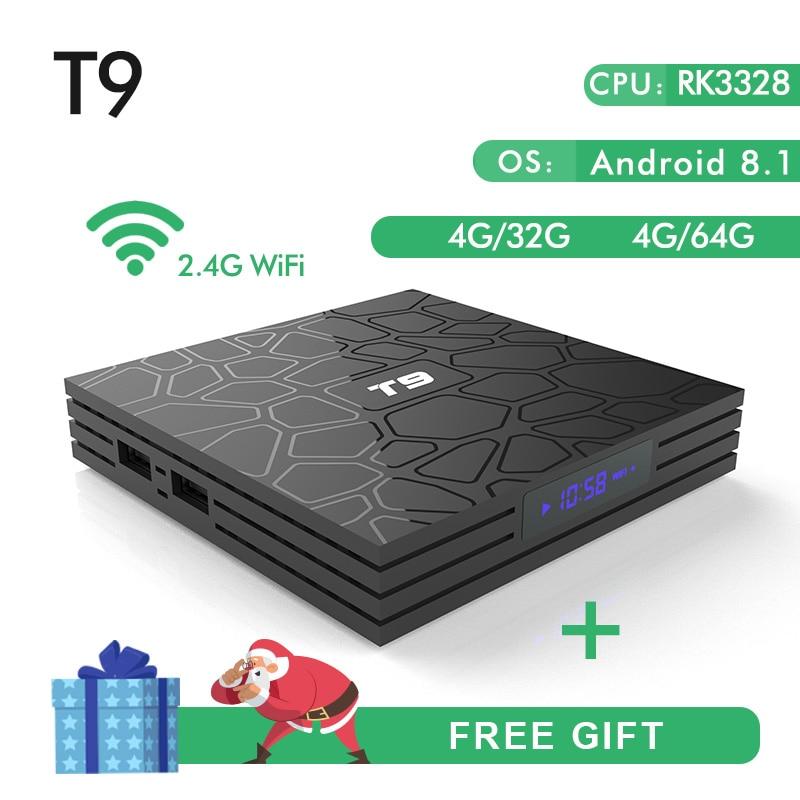 Новый T9 Smart ТВ Box Android 8,1 4 ГБ, 32 ГБ, 64 Гб Rockchip RK3328 1080 P H.265 4 K проигрыватель Google магазине Netflix Youtube PK X92 TX9