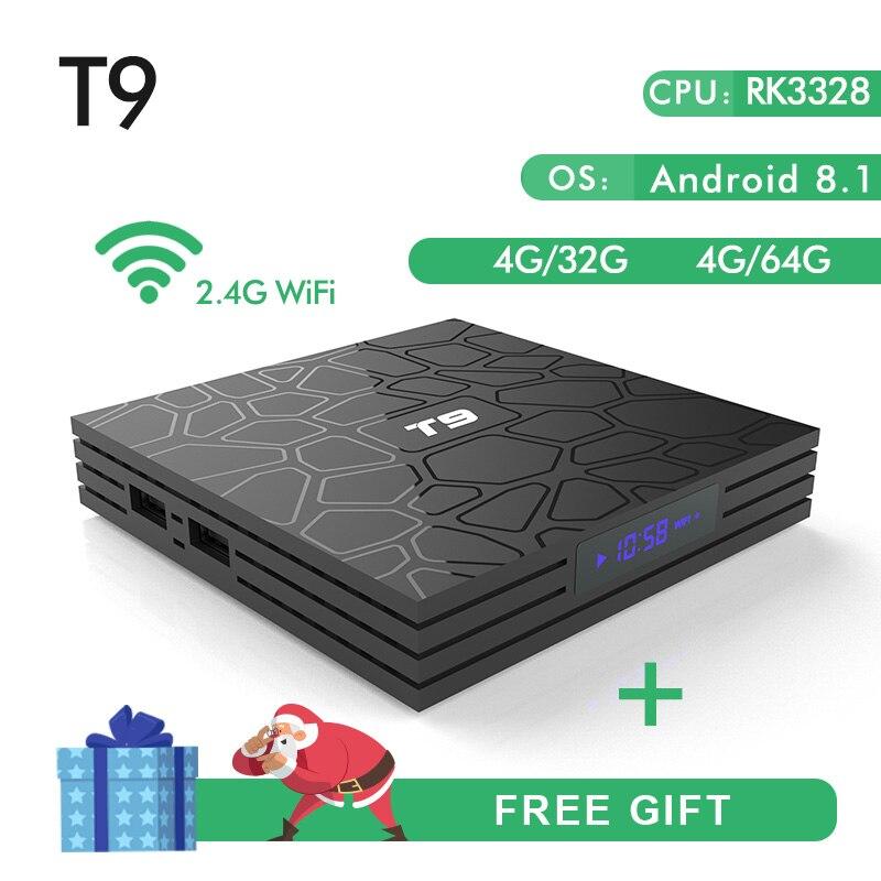 Nouveau T9 Smart TV Box Android 8.1 4 gb 32 gb 64 gb Rockchip RK3328 1080 p H.265 4 k google Lecteur Magasin Netflix Youtube PK X92 TX9