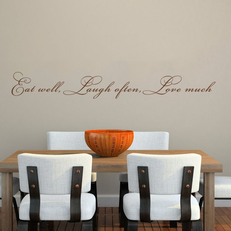 Eat well, laugh often, love much - Kitchen Living room Wall Decal Quote Vinyl Wall Sticker 34 x 4 S