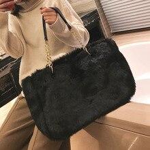 Winter High Imitation Faux Fur Women Shoulder Bags Female Handbags Plush Chains Retro Artificial Wool Solid Top Handle Tote New