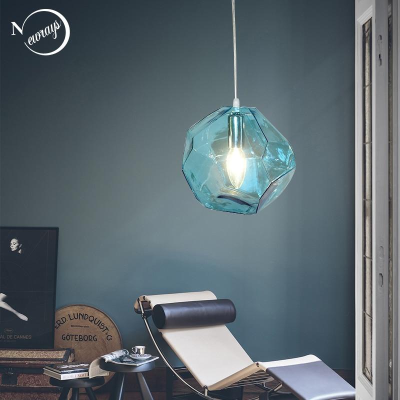 Modern Colored Glass Pendant Light E14 LED Lustrous Single Head Hanging Lamp For Kitchen Living Room Bedroom Bathroom Restaurant