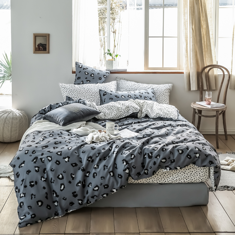 100% cotton Leopard Pattern 4Pcs Bedding Set Bedclothes Home Textiles twin queen King Size Quilt Cover Bed Sheet 2 Pillowcases100% cotton Leopard Pattern 4Pcs Bedding Set Bedclothes Home Textiles twin queen King Size Quilt Cover Bed Sheet 2 Pillowcases