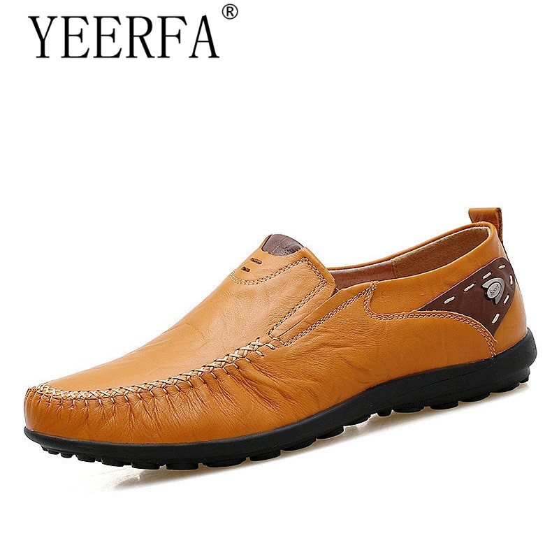 YIERFA Soft Leather Men Loafers New Handmade Casual Shoes Men Moccasins For Men Comforable Leather Flat Shoes big size 39-47 cbjsho brand men shoes 2017 new genuine leather moccasins comfortable men loafers luxury men s flats men casual shoes