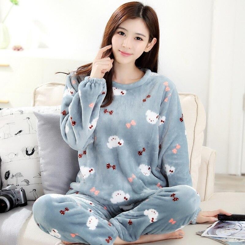 Female Coral Fleece 2PCS Sleeowear Winter Warm   Pajamas     Set   Thicken Long Sleeve Shirt+Pants Home Clothes Casual Nightwear M-XXL