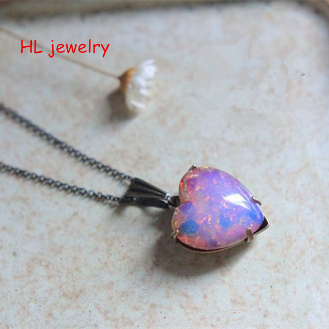 Online shop 14x15mm lovely petite pink coloured glaze opal heart 14x15mm lovely petite pink coloured glaze opal heart pendant 925 sterling silver christmas gift opal necklace aloadofball Gallery