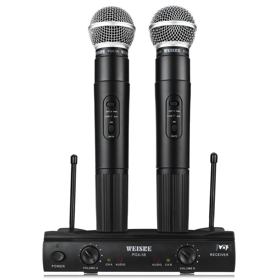 Prix pour WEISRE PGX58 Véritable Omni-directionnel Sans Fil Microphone Système Double De Poche 2 x Mic Sans Fil Receiverfor Soirée Karaoké KTV