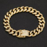 Gold Silver Color Copper Curb Cuban Chain Bracelet Iced Out CZ 7inch /8inch Bracelet For Men Luxury Box Clasp Drop Shipping