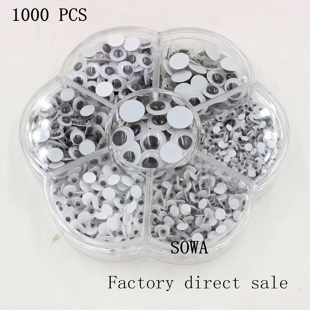 100Pcs 5mm//6mm//7mm Round Googly Eyes For Toys Bear Dolls Decor Accessories  JP