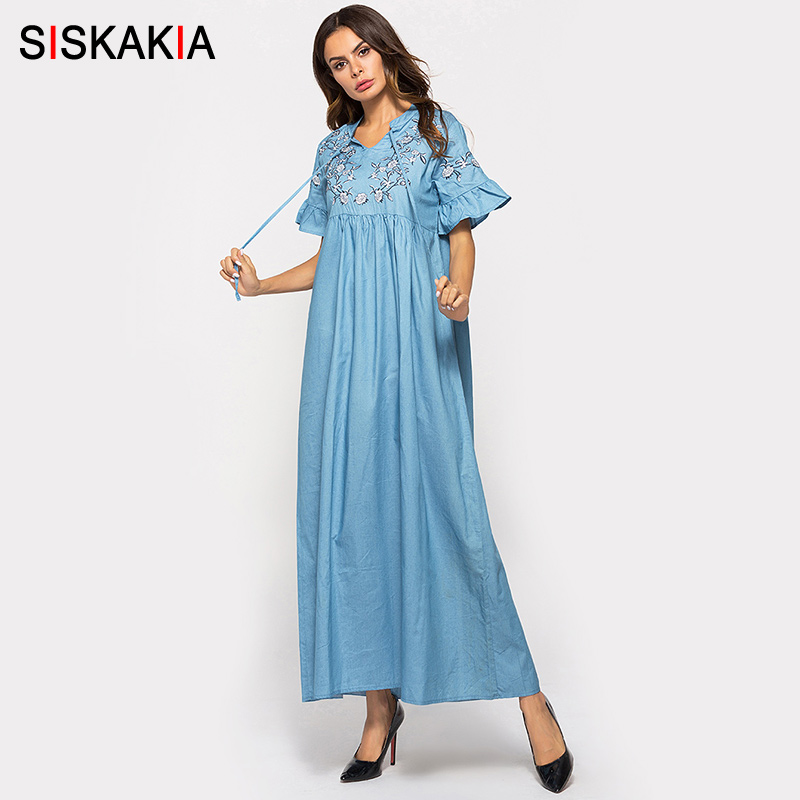 eafec54c48c7a Siskakia Tall women Denim long dress Autumn 2018 Chic Geometric ...