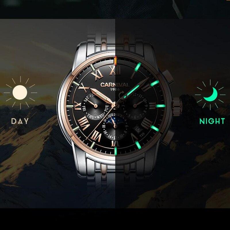 T25 Тритий газ светящиеся механические часы для мужчин карнавал полная сталь многофункциональные автоматические наручные часы Мужские часы reloj hombre - 2