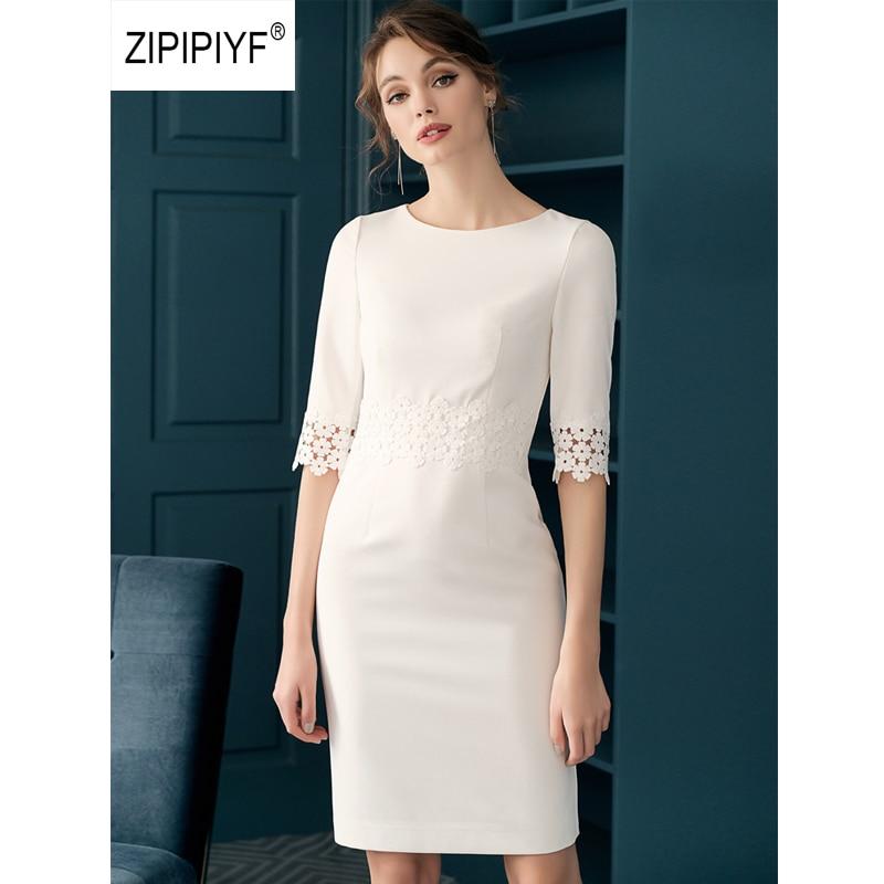 ORIGINAL Zipipiyf Dresses vestidos de oficina elegantes Office Ladies O Neck Hollow out Pencil Dress OL