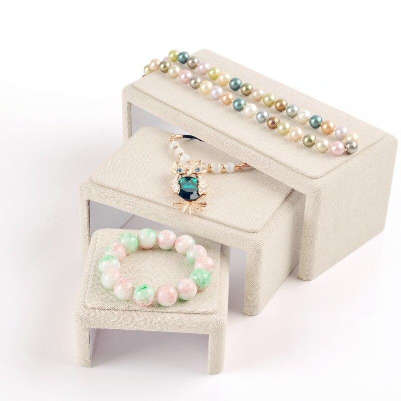 Linen Jewellery: Lot Of 3 New Fashion Linen Jewelry Display Blocks Jewelry