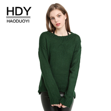 купить HDY Haoduoyi Women's Green High Low Loose Knit Sweater Rib Crewneck Long Sleeve Sweaters Jumpers Autumn Wram Pullover Tops по цене 867.2 рублей