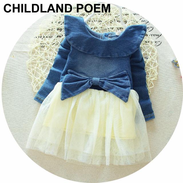 Outono primavera do bebê girls dress bow lace bebê recém-nascido meninas roupas colar cute princess tutu dress partido das meninas do bebê denim dress