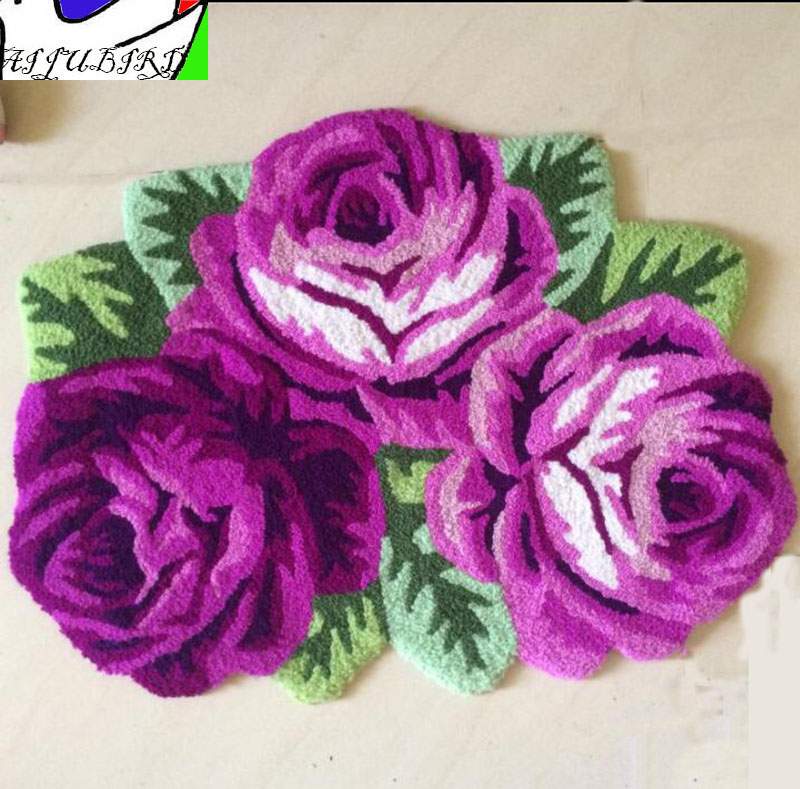 3 heteromorphic purple rose carpet irregular flower floor mat stair bedroom living room entry anti-slip warm pad home mat