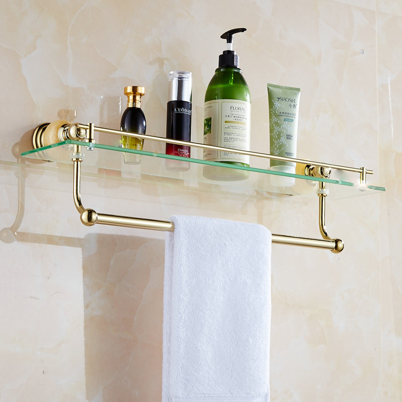 62 Jade Série Prateleiras Do Banheiro de Ouro Polido Acessórios Do Banheiro Suporte de Toalha de papel Toalha Bar & Gancho Com Limpeza De Vidro Prateleira - 2