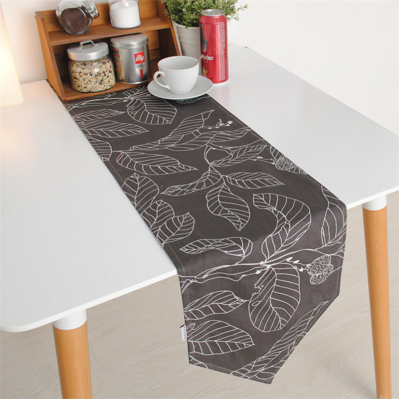 Cotton Canvas Modern Style Printed Leaves Table Runner For Wedding Double Layer Accept Customized 30