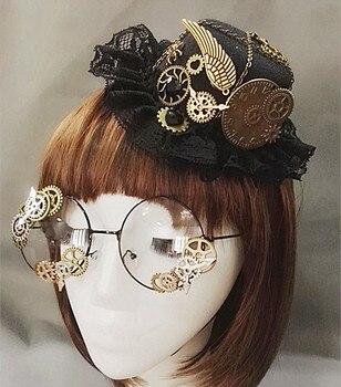 Punk Novelties Steampunk Victorian Gears Mini Top Hat Costume Hair Accessory Handmade With Steam Punk Gear Glasses