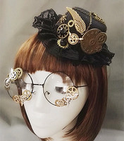 Punk Novelties Steampunk Victorian Gears Mini Top Hat Costume Hair Accessory Handmade With Steam Punk Gear