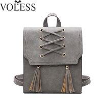 2017 High Quality Solid Pu Leather Backpack Female School Bag For Girls Designer Fashion Scrub Black