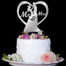 2020 ロマンチックなアクリルケーキトッパーmr mrs中空ケーキアクセサリーウエディングケーキトッパーの装飾パーティー用品